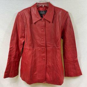 💯 Leather Vintage Terry Lewis Luxuries Red Jacket